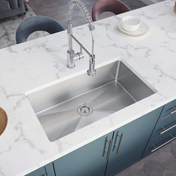 Mr Direct Stainless Steel 31 1 4 In Single Bowl Undermount Kitchen Sink With White Sinklink 3120s 16 Slw The Home Depot