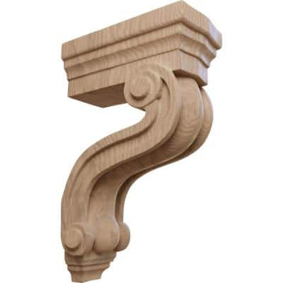 3-3/8 in. x 6-1/2 in. x 10-1/2 in. Unfinished Mahogany Los Angeles Hollow Back Corbel