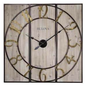 Oversized 3-Panel Square Gallery Clock with a Weathered Wood