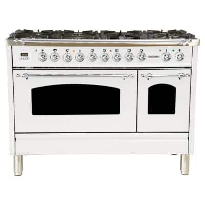 48 in. 5.0 cu. ft. Double Oven Dual Fuel Italian Range with True Convection, 7 Burners, Griddle, Chrome Trim in White
