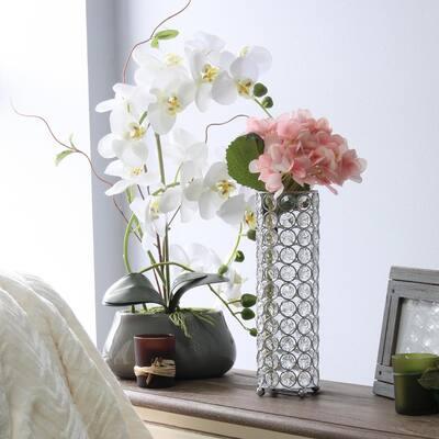 10.25 in. Chrome Elipse Crystal Decorative Flower Vase Candle Holder Wedding Centerpiece