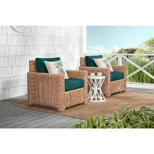 Laguna Point Natural Tan Wicker Outdoor Stationary Lounge Chair with CushionGuard Malachite Green Cushions (2-Pack)