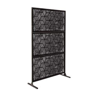 New Style MetalArt Laser Cut Metal Black HoneyComb Privacy Fence Screen (24 in. x 48 in. per Piece 3-Piece Combo)