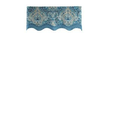 Moonlit Shadows Wave Window Valance in Lapis - 52 in. W x 18 in. L