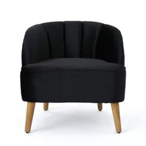 Amaia Black and Walnut Upholstered Club Chair