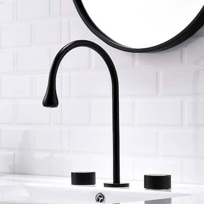 8 in. Widespread Three Hole 2-Handle 1.5 GPM Watersense Bathroom Faucet in Matte Black