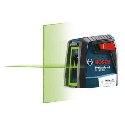 40 ft. Green Cross Line Laser Level Self Leveling with VisiMax Technology, 360 Degree Mounting Device and Carrying Pouch