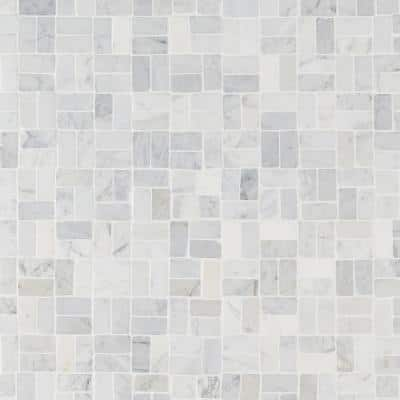 Countryside Interlocking Carrara 11.81 in. x 11.81 in. Natural Marble Floor and Wall Mosaic Tile (0.96 sq. ft./Each)