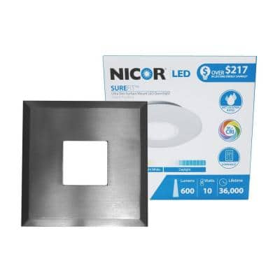 SureFit 9.6-Watt Square Nickel Integrated LED Flush Mount with 4000K