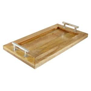 Brown Rectangular Tray with Silver Stainless Steel Handles