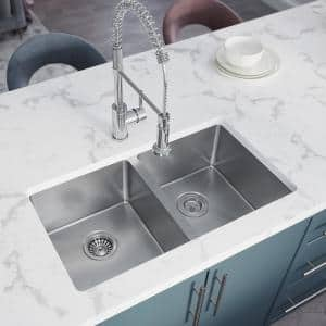 Stainless Steel 31 in. Double Bowl Undermount Kitchen Sink with White SinkLink