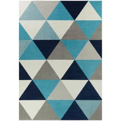 Tangier Blue Geo 6 ft. x 9 ft. Geometric Area Rug