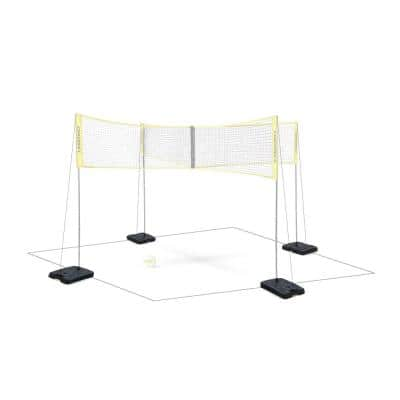 Indoor Base Set for 4 Square Volleyball Inside Gym Game Play, (4-Pack)