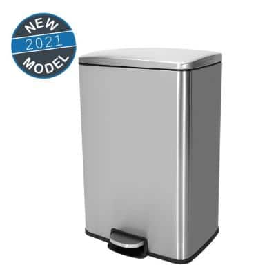 13.2 Gal. /50 l Stainless Steel Rectangular Kitchen Step-on Trash Can