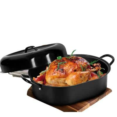 8.8 qt. Aluminum Nonstick Diamond Infused Coating Covered Oval Roasting Pan with Lid