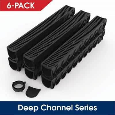 Storm Drain Series 5 in. W x 5.25 in. D x 39.4 in. L Channel Drain Kit with Black Grate (6-Pack)