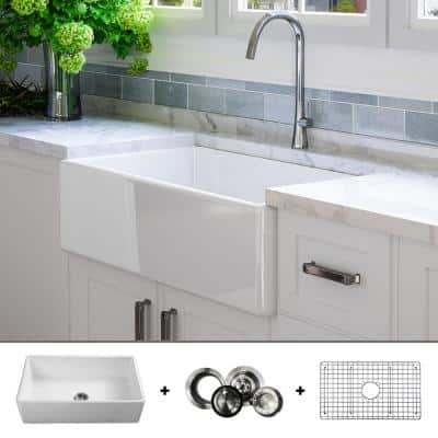 Luxury 33 inch Fine Fireclay Modern Farmhouse Kitchen Sink in White, Single Bowl, Flat Front, Includes Grid and Drain