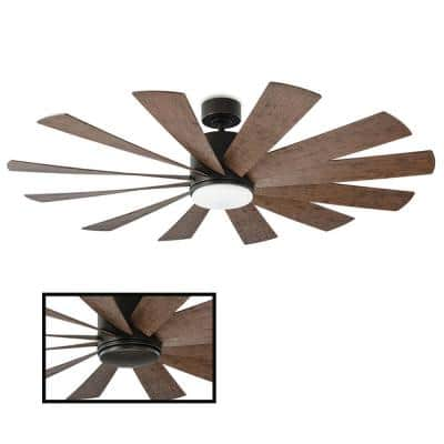 Windflower 60 in. LED Indoor/Outdoor Oil Rubbed Bronze 12-Blade Smart Ceiling Fan with 3000K Light Kit and Wall Control