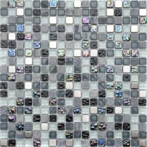 Petrol Marble Mix 11.81in. x 11.81in. Square Joint Polished/Matte Marble Glass Metal Mosaic Wall Tile (0.97 sq. ft./Ea)