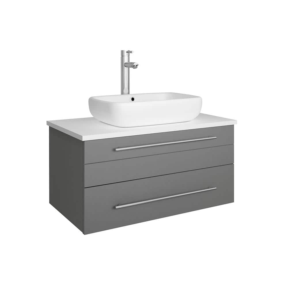 Fresca Lucera 30 In W Wall Hung Bath Vanity In Gray With Quartz Stone Vanity Top In White With White Basin Fcb6130gr Vsl Cwh V The Home Depot