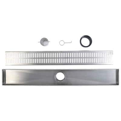 48 in. 316 Marine-Grade Stainless Steel Hole Pattern Linear Shower Drain Grate with Strainer and Height Adjuster