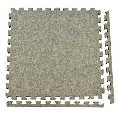 Royal Carpet Light Gray Velour Plush 2 ft. x 2 ft. x 5/8 in. Interlocking Carpet Tile 96.875 sq. ft. (25 Tiles/Case)
