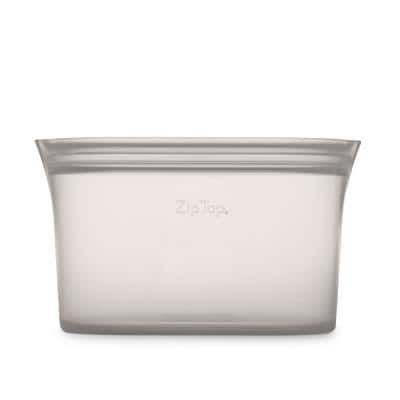Reusable Silicone 32 oz. Large Dish Zippered Storage Container, Gray