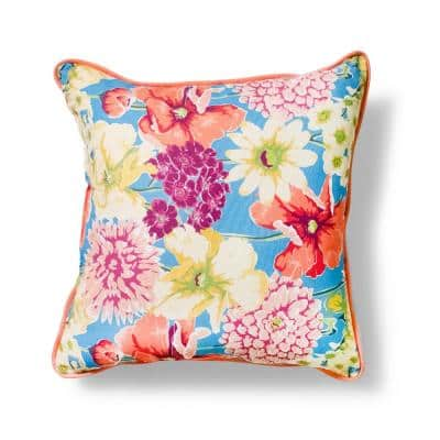 20 in. x 20 in. Plantation Floral Outdoor Throw Pillow