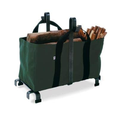 Handcrafted Firewood Rack with Carrier Bag Hammered Steel