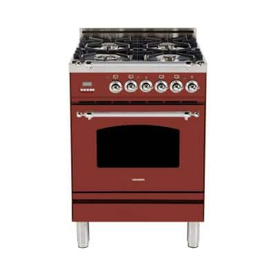 24 in. 2.4 cu. ft. Single Oven Italian Gas Range with True Convection 4 Burners, LP Gas, Chrome Trim in Burgundy