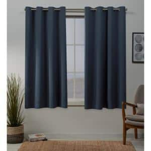 Vintage Indigo Thermal Grommet Blackout Curtain - 52 in. W x 63 in. L (Set of 2)