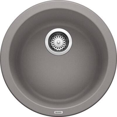 RONDO Gray Granite Composite 15 in. Dual Mount Bar Sink