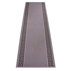 Meander Greek Key Design Cut to Size Gray Color 32'' Width x Your Choice Length Custom Size Slip Resistant Runner Rug