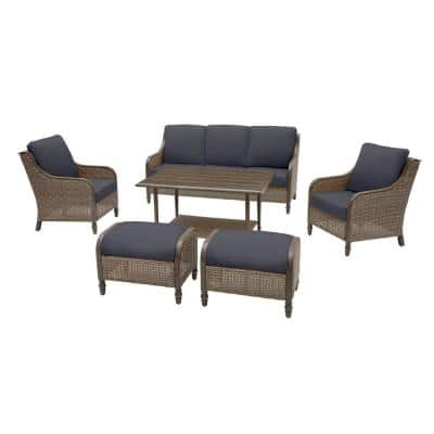 Windsor 6-Piece Brown Wicker Outdoor Patio Conversation Seating Set with CushionGuard Midnight Navy Blue Cushions