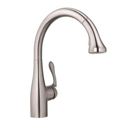 Allegro E Single-Handle Pull-Out Sprayer Kitchen Faucet in Steel Optik