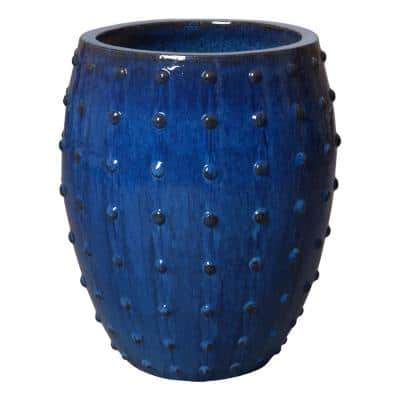 26 in. H Blue Round Ceramic Planter with Studs