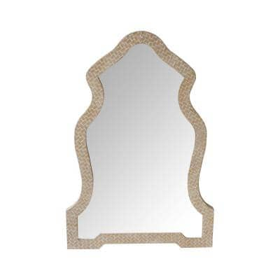 36.81 in. x 1.06 in. Brown Scalloped Top Wooden Framed Wall Mirror with Geometric Texture