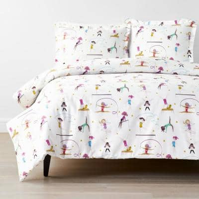 Company Kids Little Gymnasts 3-Piece Multicolored Organic Cotton Percale Queen Duvet Cover Set
