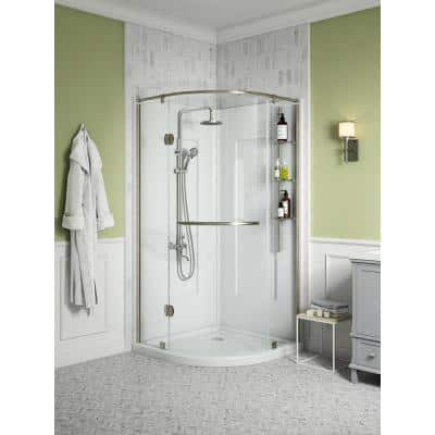 Glamour 36 in. x 76.40 in. Corner Drain Corner Shower Kit in White and Satin Nickel Hardware