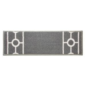 Chain Border Custom Size Gray 12 in. W x 26 in. H Indoor Carpet Stair Tread Cover Slip Resistant Backing (Set of 13)