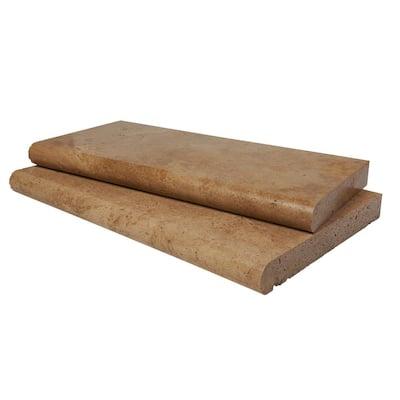 2 in. 12 in. x 24 in. Mediterranean Walnut Brushed Travertine Pool Coping (40-Pieces/80 sq. ft./Pallet)
