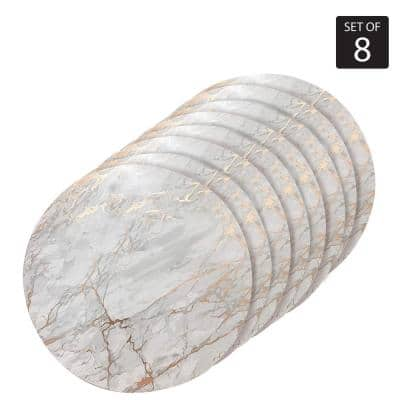 """Marble Cork 15"""" x 15"""" In. Yellows/Golds Cork Round Placemats Set of 8"""