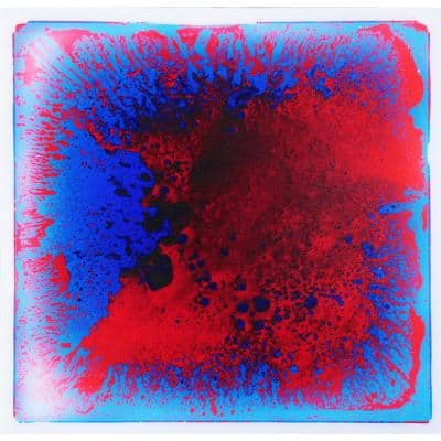 Fancy Floor Tile Blue Red 19.7 in. x 19.7 in. Kids Room Liquid Encased Vinyl Sheet Floor Tile (2.7 sq. ft.)