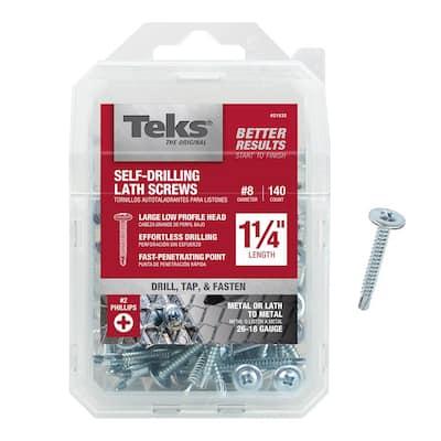 #8 x 1-1/4 in. Zinc Plated Steel Phillips Truss Head Drill Point Lath Screws (140-Pack)