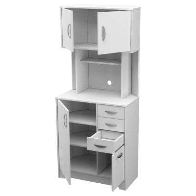 White Wood Laminate Stock Corner Microwave Kitchen Cabinet with Slab Doors 19.9 in. W x 31.5 in. D