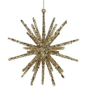 8.25 in. Gold Glitter Starburst Christmas Ornament