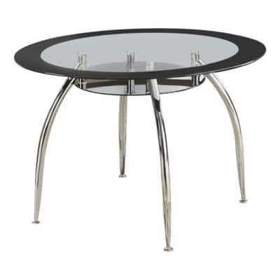 30 in. H Silver Metal and Glass Round Dining Table with Bottom Shelf
