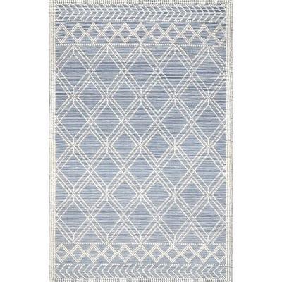 Natti Modern Trellis Blue 5 ft. x 8 ft. Area Rug