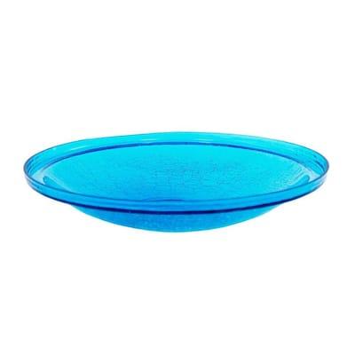14 in. Dia Teal Blue Reflective Crackle Glass Birdbath Bowl