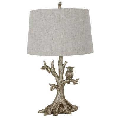 27.75 in. Silverleaf Table Lamp with Owl